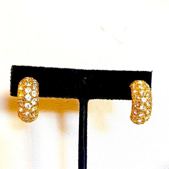Kenneth Jay Lane Gold Pave Half Hoop Earrings